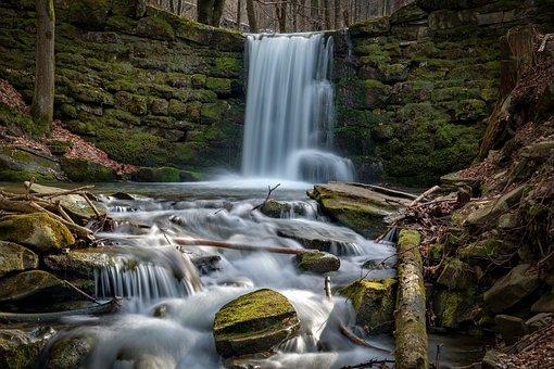 Waterfall, Cliff, River, Rocks, Moss