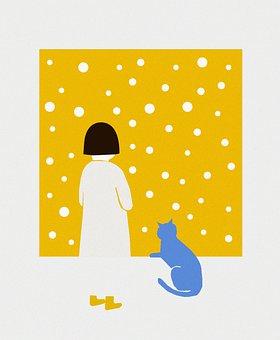 Yellow Wall, Cat, Girl, Pet, Animal