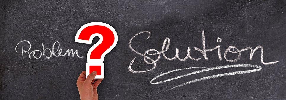 問題, ソリューション, 質問マーク, チョーク, 黒板, ヘルプ, サポート