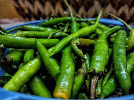 Green Chillies, Chilly, Chili, Spicy