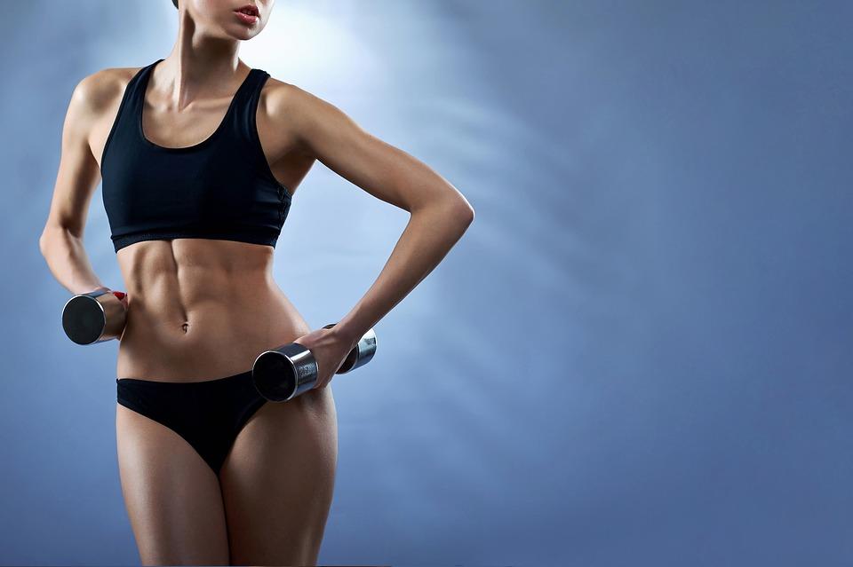 女性, フィットネス, シックスパックAbs, 女の子, 筋肉, 強い, フィット, スリム, 形, 健康