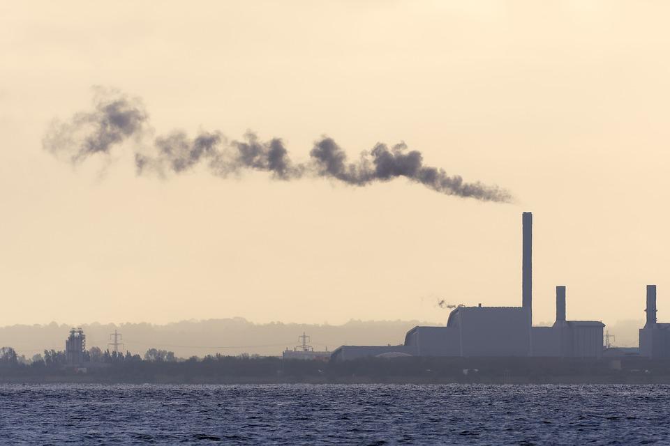 Fabrik, Schornstein, Meer, Bucht, See, Rauch, Industrie