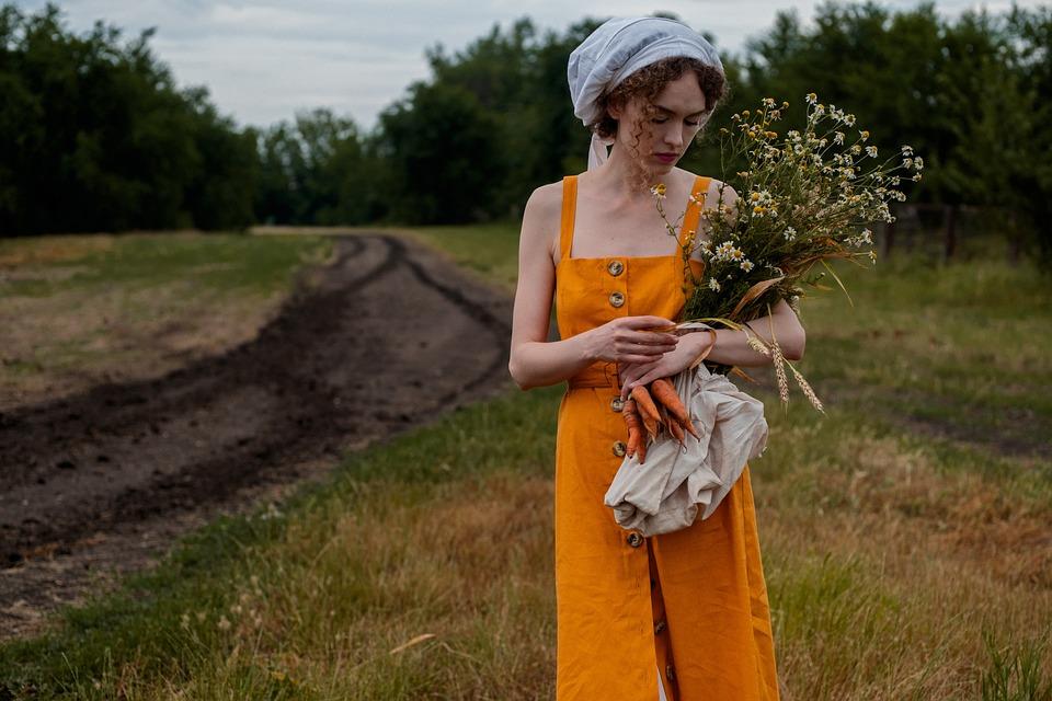 Kobieta, Kwiaty, Bukiet, Pole, Pszenicy, Siano, Natura