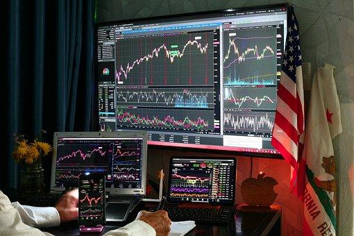 Computer, Stock, Market, Chart, Dow