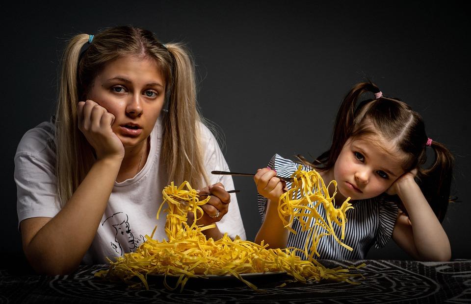 Mãe, Filha, Comendo, Triste, Filho, Garota, Mulher