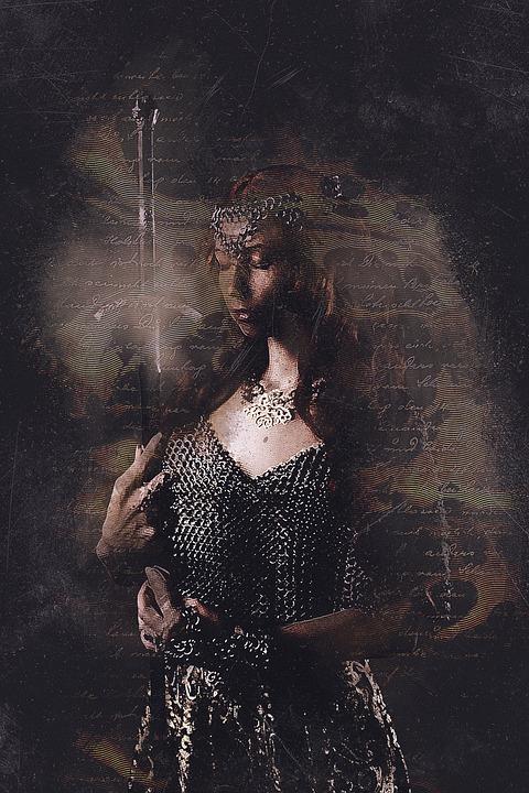 Femme, Armure, Portrait, Épée, Cotte De Mailles, Fille