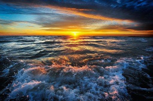 Sea, Sky, Seascape, Sunset, Shore