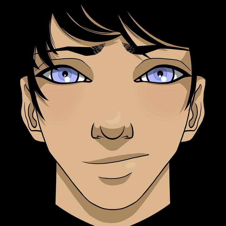 Augen mann schwarze haare blaue Haar