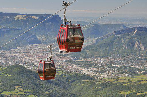 Cable Car, City, Mountains, Grenoble