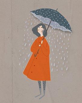 Girl, Umbrella, Rain, Wet, Raining