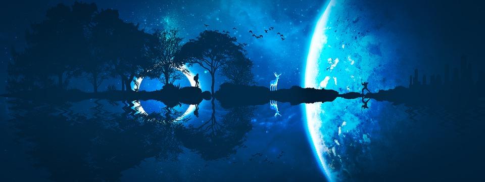 Fantasy, Planety, Jeleń, Noc, Sylwetka, Odbicie, Wody