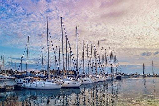 Yachts, Boats, Sunset, Marine, Sunlight