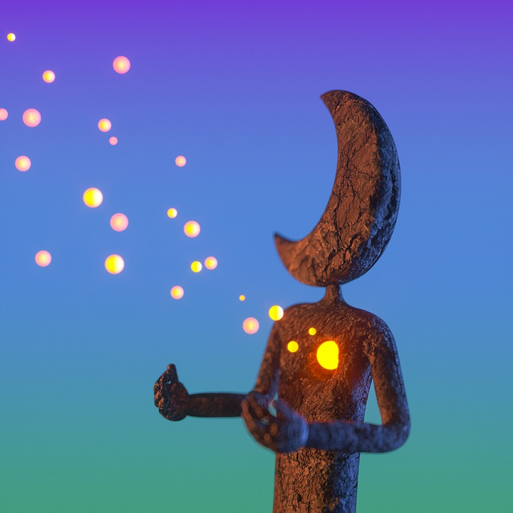 Statua, Księżyc, Serce, Światła, Rozsiany, Bajki