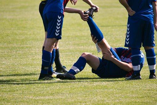 サッカー, けいれん, 傷害, 痛み, 膝, 脚, 選手, 運動選手