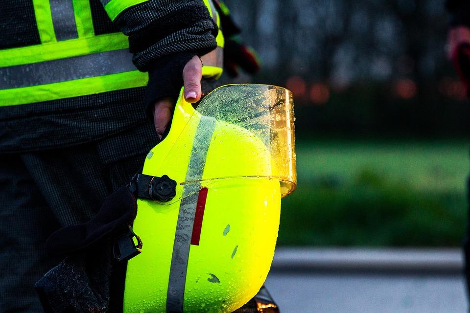 消防士, ヘルメット, 消防, レスキュー, 保護, 緊急, クローズアップ