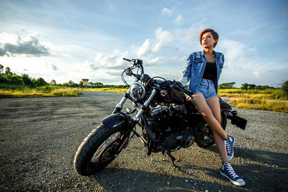 女の子、バイク、ファッション、オートバイ、モデル、女性