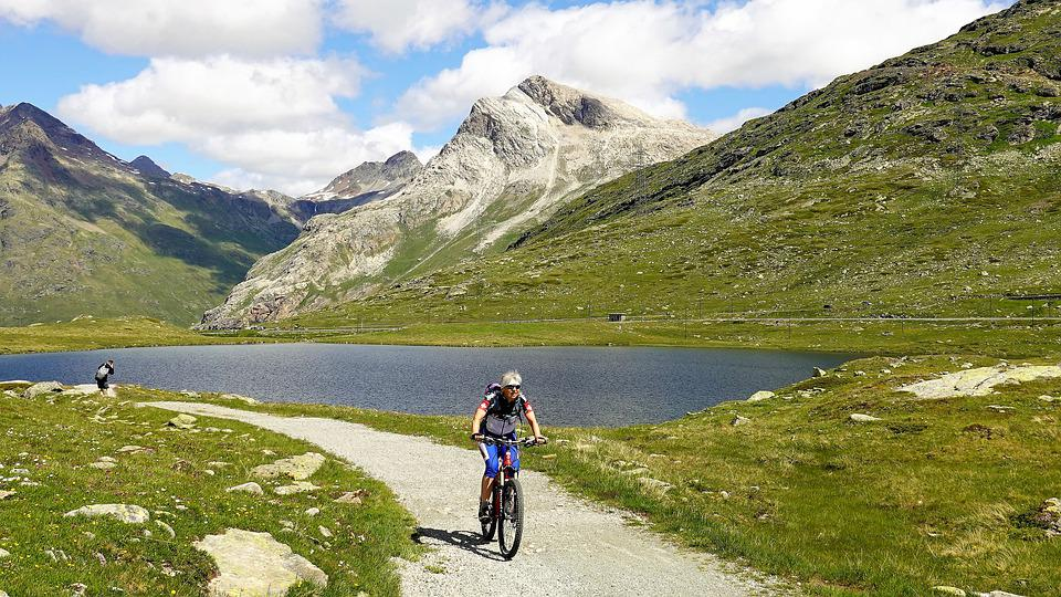 Trail, Lake, Mountains, Bernina, Graubünden, Bicycle