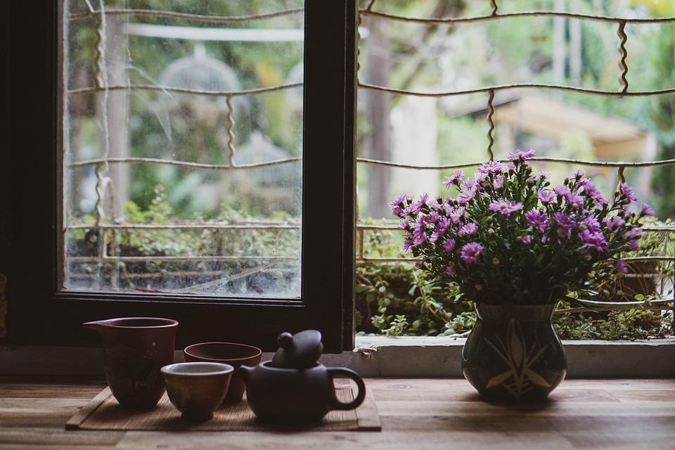 Чай, Чаени Чаши, Цветя, Цвете Ваза, Чайник, Чаши