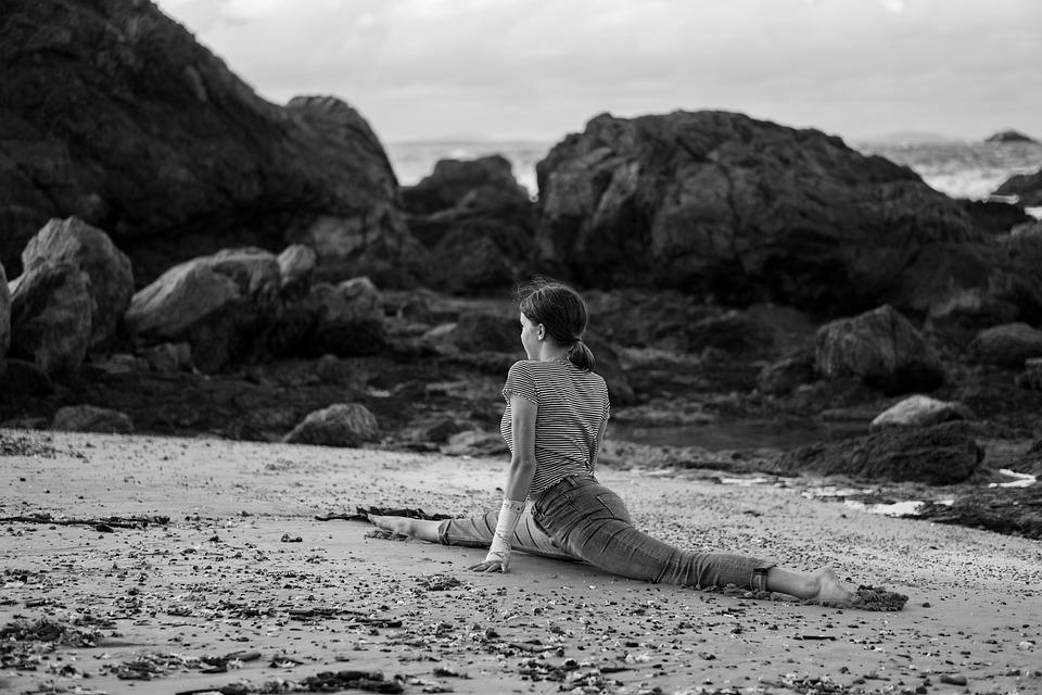 Gymnast, Splits, Beach, Gymnastics, Training, Stretch