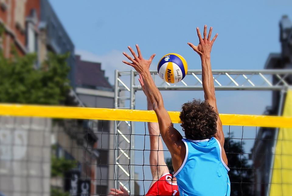 浜のバレーボール, ブロック, プレーヤー, 玉, バレーボールネット, 攻撃, スポーツ, バレーボール