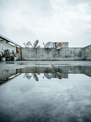Rooftop, Puddle, Water, Reflection, Sky