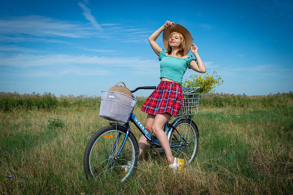 Outdoors, Meadow, Bicycle, Young Woman, Nature, Skirt