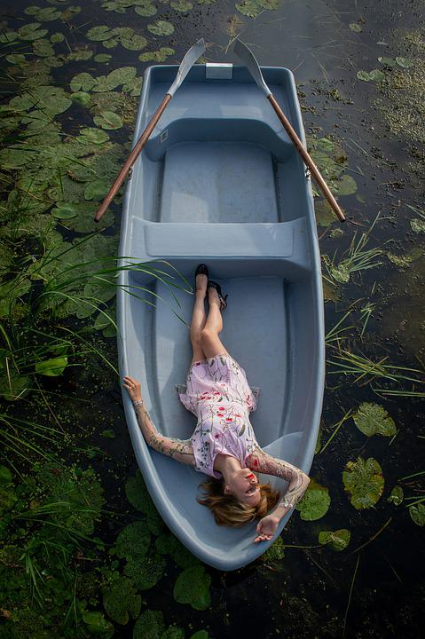 Boat, River, Woman, Young, Lake, Water Lilies, Water