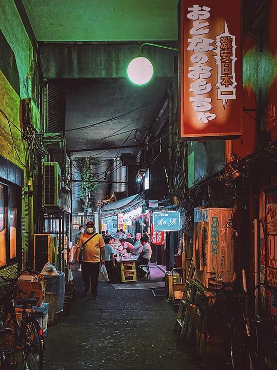 Alley, Alleyway, Nightlife, Evening, Grungy, Locals