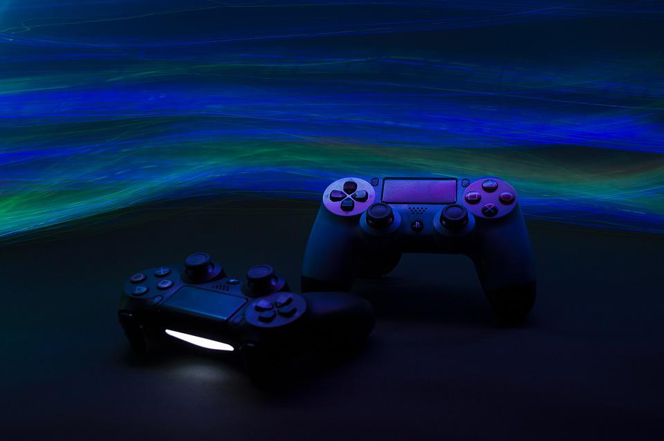 Game Console, Sony, Video Games, Lights, Neon