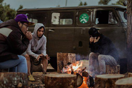 Camping, Copains, Feu, Feu De Camp, Nuit