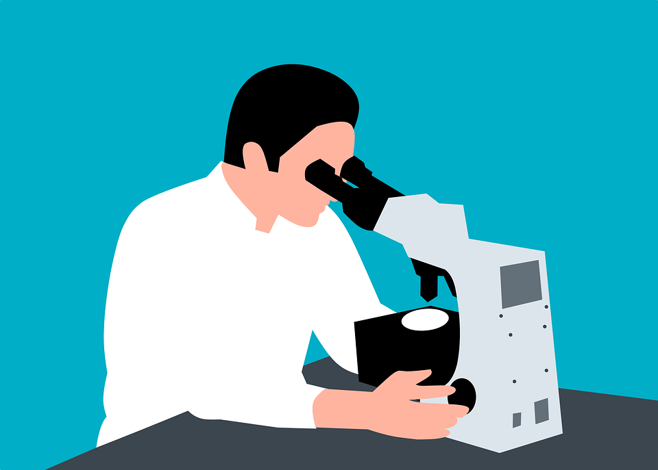 Scientist, Microscope, Laboratory, Drawing, Sketch, Man