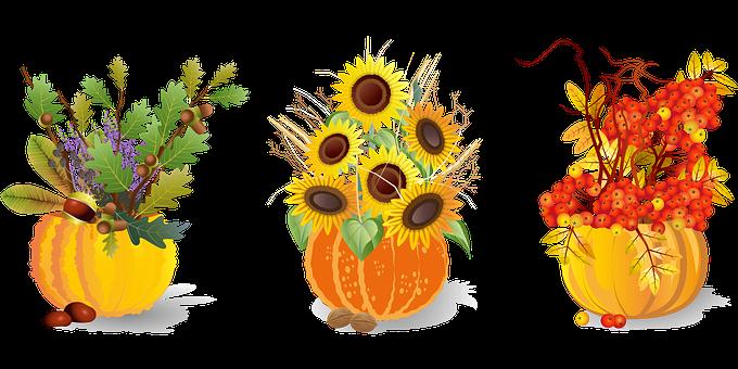 Herbst, Blumenschmuck, Kürbisse