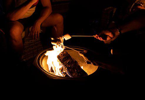 Foyer, Camping, Voyage, Le Feu, Famille