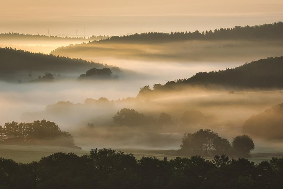 Wschód Słońca, Góry, Mgła, Jura Szwabska, Dolina